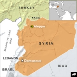 Map showing town of Kilis, Turkey, on border with Syria.