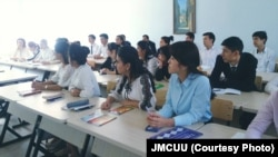 Students of the newly-opened Journalism and Mass Communications University of Uzbekistan in Tashkent, the country's capital city, in September 2018 (JMCUU)
