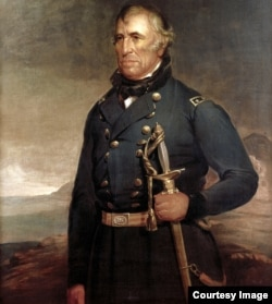 Detail from official White House portrait of President Zachary Taylor (c.1848) by Joseph Henry Bush