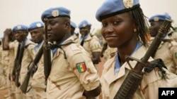 Des Casques bleus sénégalais de la Minusma à Sévaré, Mali, le 30 mai 2018.