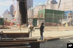 Workers on 1 World Trade Center site, which will be the tallest building in the U.S.
