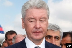 "FILE - Moscow Mayor Sergey Sobyanin thinks that ""without Britain, the EU will have no one so zealously upholding Russia sanctions."""