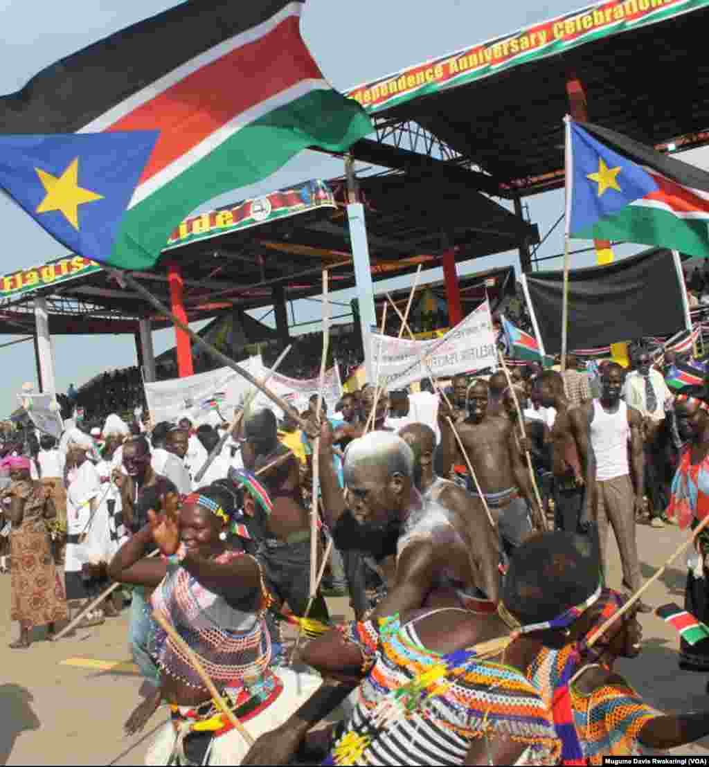 South Sudanese celebrate their young nation's fourth birthday on Thursday, July 9, 2015.