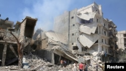 Barrel Bomb Attack in Aleppo, Syria