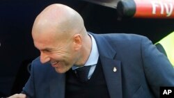 Zinédine Zidane, entraîneur du Real au stade Santiago Bernabeu de Madrid, Espagne, le 23 décembre 2017,