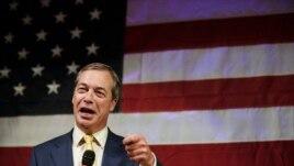 British politician Nigel Farage speaks at a rally for U.S. Senate hopeful Roy Moore, Sept. 25, 2017, in Fairhope, Alabama.