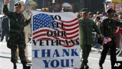 Retired U.S. Army veterans march up 5th Avenue during a parade on Veteran's Day. (File)