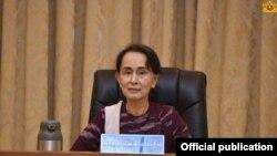 ႏိုင္ငံေတာ္အတိုင္ပင္ခံ ပုဂၢိဳလ္ ေဒၚေအာင္ဆန္းစုၾကည္ (ဓါတ္ပံု- Myanmar State Counsellor)