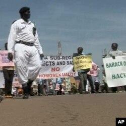 An anti-gay demonstration in Uganda
