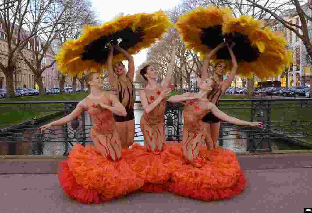 "Members of a dance ensemble ""Momix Botanica"" pose in Duesseldorf, Germany."