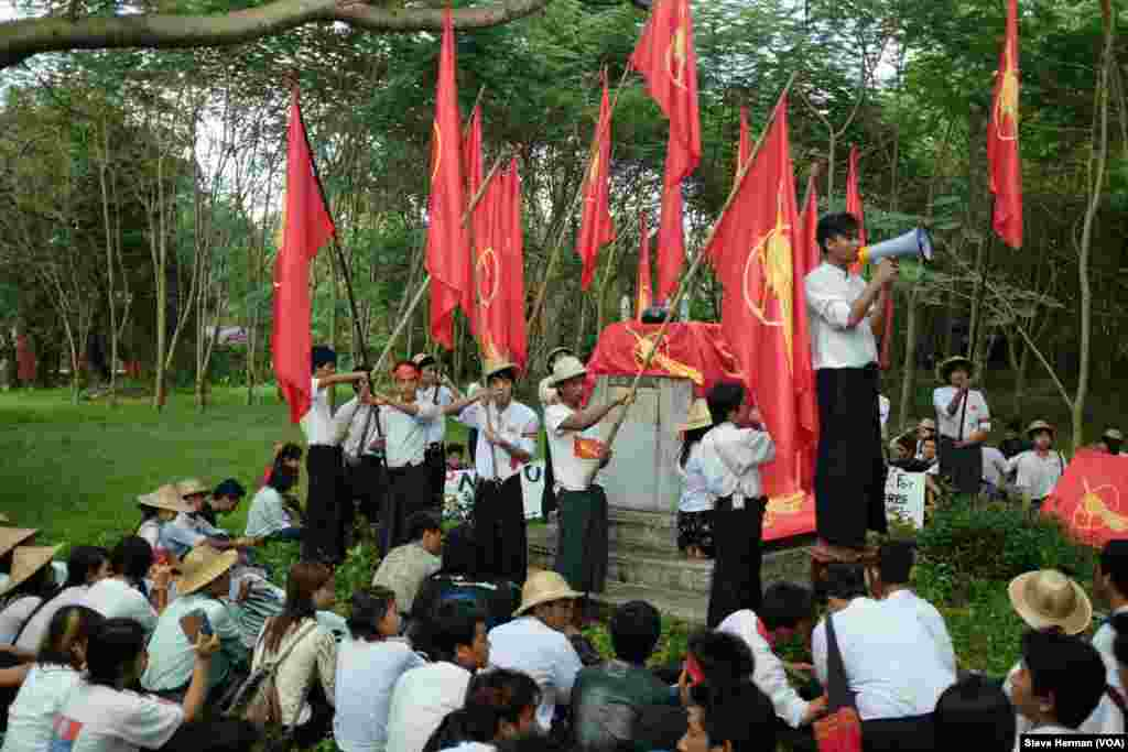 Students rally on the site of Yangon University student union, which was dynamited by authorities during clashes in 1962.