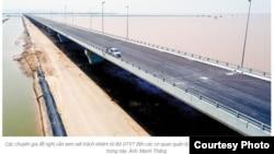 Cầu Tân Vũ-Lạch Huyện nối thủ đô với đảo Cát Hải ở Hải Phòng (Ảnh chụp màn hình báo Tiền Phong)