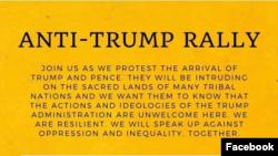 Poziv na Fejsbuku da se dođe na protest protiv Trampa