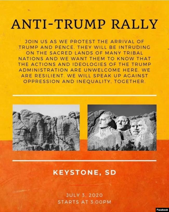 Başkan Trump'ın 3 Temmuz 2020'de Rushmore Dağı ziyaretinin protesto edileceği gösterinin Facebook ilanı