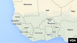 Carte de l'Afrique de l'Ouest.