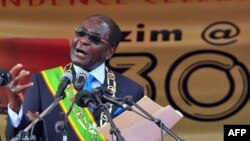 FILE: President Robert Mugabe addresses the nation as Zimbabwe celebrates 30 years of independence from Britain, in Harare, 18 Apr 2010