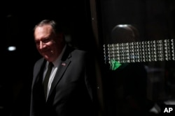 U.S. Secretary of State Mike Pompeo leaves after a meeting at the Europa building in Brussels, Belgium, May 13, 2019.