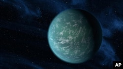 This artist's conception illustrates Kepler-22b, a planet known to comfortably circle in the habitable zone of a sun-like star. It is the first planet that NASA's Kepler mission has confirmed to orbit in a star's habitable zone - the region around a star
