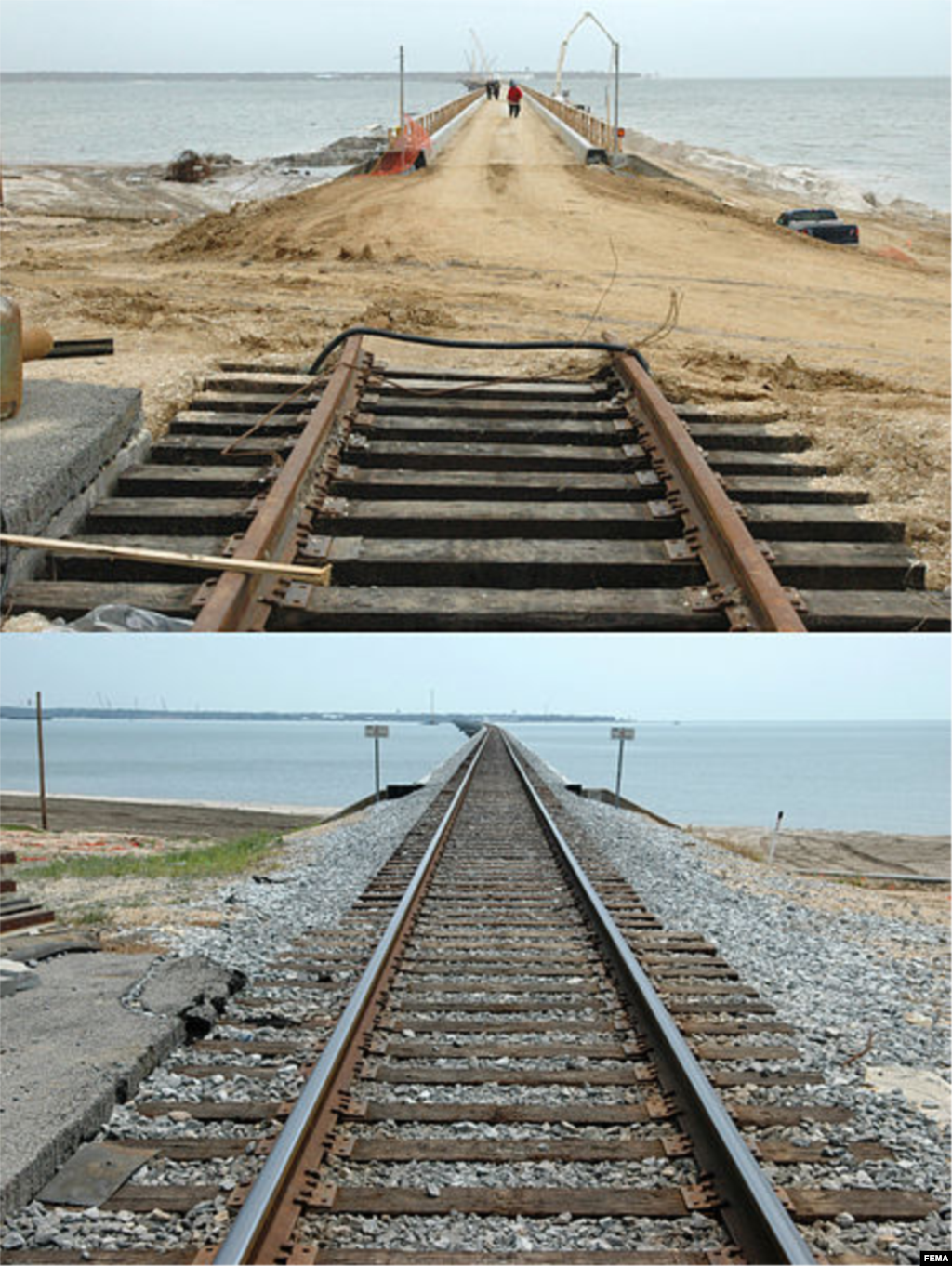 The railroad bridge across Bay St. Louis before and after its repair. The bridge was destroyed by Hurricane Katrina, Bay St. Louis, Mississippi, Dec. 8, 2005 and Aug. 9, 2006. (Mark Wolfe/FEMA)