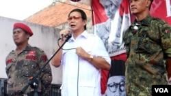 Adik Prabowo Subianto, Hasyim Joyohadikusumo melantik Tim Pemenangan Prabowo-Hatta di Yogyakarta, Minggu (1/6)
