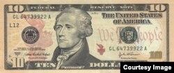 Chân dung Alexander Hamilton trên tờ tiền $10 Mỹ.