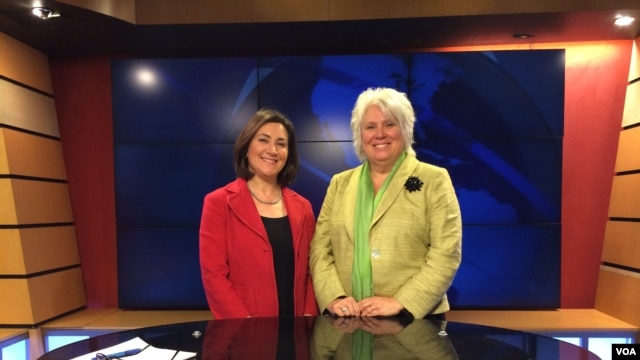 VOA's Carol Castiel (L) and Estonia's Amb. to the US Marina Kaljurand (R)