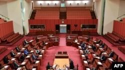 ကင္ဘာရာျမိဳ ့ေတာ္က Australia လႊတ္ေတာ္အား ကိုဗစ္စည္းမ်ဥ္းနဲ ့အညီ က်င္းပ ေနစဥ္ (ဓာတ္ပံု - AFP)