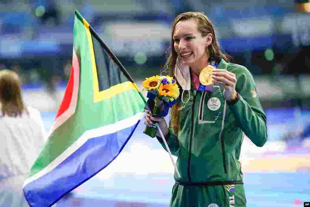 تاتیانا شونمکر، ورزشکار افریقای جنوبی در رشتهٔ آب بازی۲۰۰ متر زنان مدال طلا را کسب کرد.