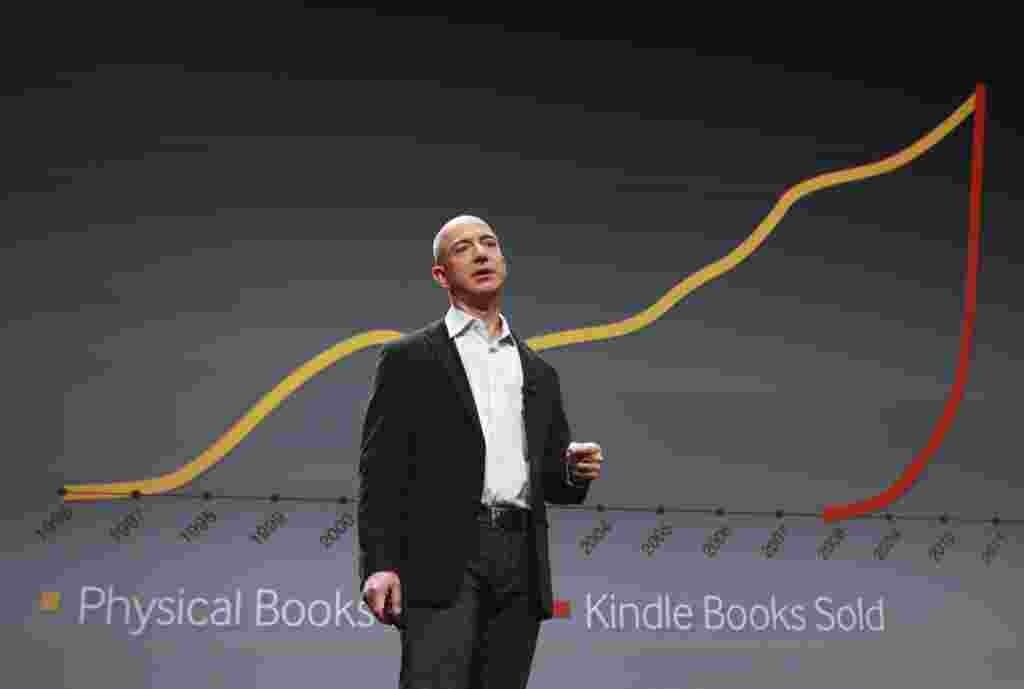 Bezon en su conferencia de prensa hizo referencia al crecimiento de las ventas de libros digitales en contraste con la reducción del mercado de libros tradicionales.