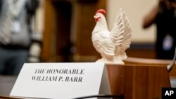 Rep. Steve Cohen, D-Tenn., placed a prop chicken on the witness desk for Attorney General William Barr after he does not appear before a House Judiciary Committee hearing on Capitol Hill in Washington, May 2, 2019.
