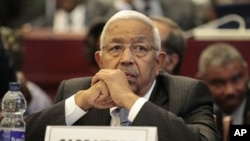 Cape Verde President Pedro Pires looks on during the closing session of the 17th African Union Summit, Friday, July 1, 2011. (AP Photo/Rebecca Blackwell)