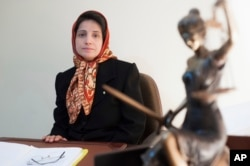FILE - Iranian human rights lawyer Nasrin Sotoudeh, poses for a photograph in her office in Tehran, Nov. 1, 2008.