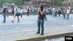 Los estudiantes dicen que no acatarán el fallo del Supremo venezolano. [Foto: Alvaro Algarra, VOA Caracas, Venezuela].