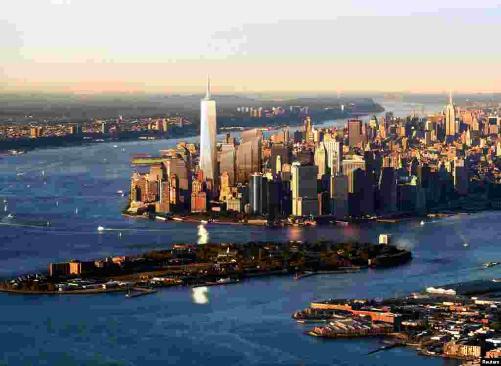 June 29, 2005: This artist rendering shows an aerial view from the New York Harbor of the proposed design for the Freedom Tower for the World Trade Center Site.