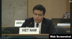 Ông Lê Đình Bá, Tham tán Công sứ, Phó Trưởng Phái đoàn thường trực của Việt Nam tại LHQ phát biểu ngày 30-09-2020. Photo UN Web TV.
