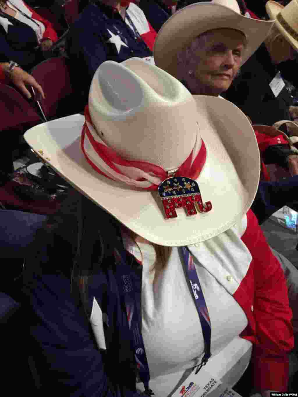 Texas delegates were well-dressed in state gear as they headed toward the Quicken Loans Arena for the Republican National Convention, in Cleveland, July 18, 2016.