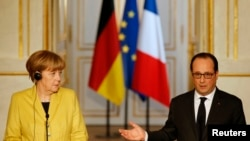 German Chancellor Angela Merkel and French President Francois Hollande.