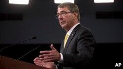 Menteri Pertahanan Ash Carter dalam konferensi pers bulan Agustus lalu di Pentagon.