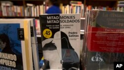 "The book ""Half Monks, Half Soldiers"" stands for sale at a bookstore in Lima, Peru, Oct. 31, 2015."