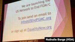Sommet sur l'éradication des FGM, Institut de la Paix, Washington, 2 Décembre 2016 (VOA Afrique/Nathalie Barge)
