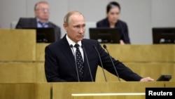 Shugaban Rasha Vladimir Putin a majalisar kasarsa