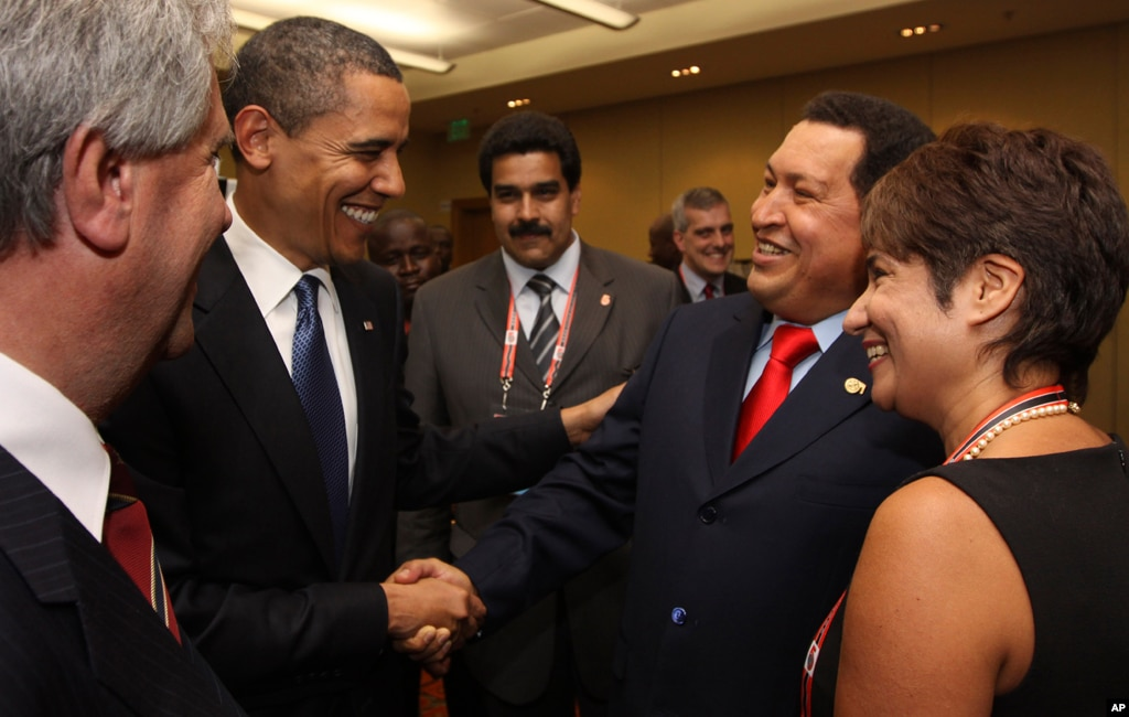President Barack Obama shakes hands with Chavez before the opening session of the 5th Summit of the Americas in Port of Spain, Trinidad and Tobago, April 17, 2009.