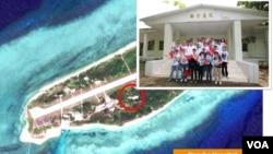 平島和島上的南沙醫院(2015年11月25日,圖片來源:台灣海洋事務與政策會秘書長王冠雄)