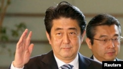 FILE - Japan's Prime Minister Shinzo Abe is seen at his official residence in Tokyo.