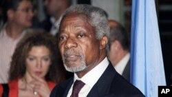 Utusan Khusus PBB-Liga Arab untuk Suriah (JSE), Kofi Annan dalam konferensi pers setibanya di Damaskus, Suriah (28/5).