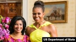 Lígia Fonseca e Michelle Obama na Casa Branca, em 2014