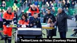 Le défenseur du Betis Séville Zouhair Feddal a été victime d'une rupture d'un tendon d'Achille samedi et devrait être indisponible six mois, 3 fevrier 2018. (Twitter/Lions de l'Atlas)