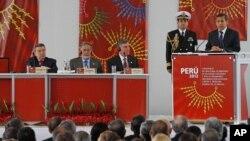 El presidente peruano, Ollanta Humala, habla durante la inauguraciòn de la conferencia.