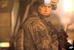 "Michelle Rodriguez in a scene from ""Battle: Los Angeles"""