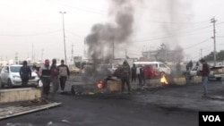 Demonstrasi anti pemerintah terus berlangsung di Baghdad, Irak Selasa (28/1).